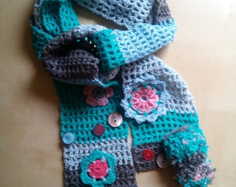 girls ' wool crochet scarf with pom pom flowers and cheerful and colorful handmade buttons