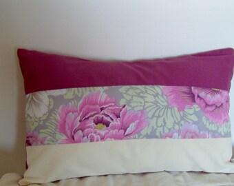 Rectangular pillow cover made of 3 matching horizontal strips