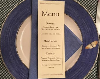 Wedding / birthday / party menu