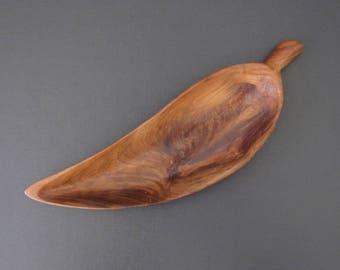 "Mid-century wood leaf bowl   vintage bowl   bohemian bowl   snack bowl   trinket bowl   MCM 10"""