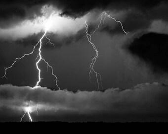 Lightning photo lightning photography storm photography black and white wall art photography nature photography matted photography art print