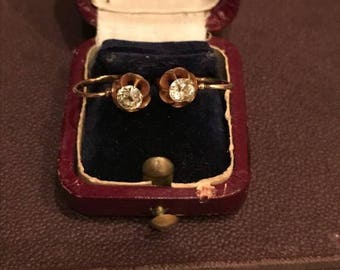 Antique golden earrings with diamonds 56 test of gold Russia 19 century