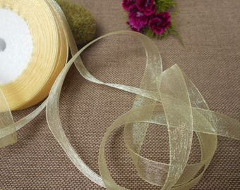 Straw yellow organza Ribbon to 40 metres - 15mm wide