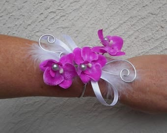 "Bracelet flowers for wedding - white, pink and silver - ""Orchid"""