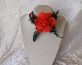 "Black and Red Ribbon necklace red flower ""wedding procession"