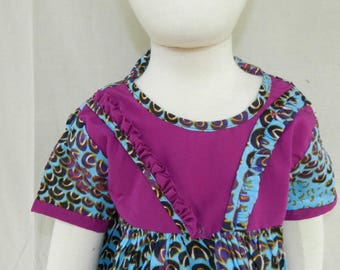 One size dress No. 26-zip blue purple cotton baby girl 0 to 12 months