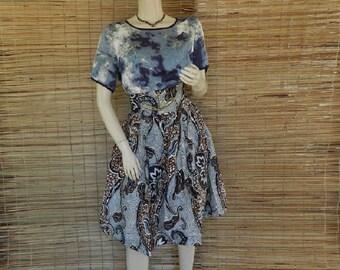 Skirt waist high T 38/40 mi-courte African wax fabric