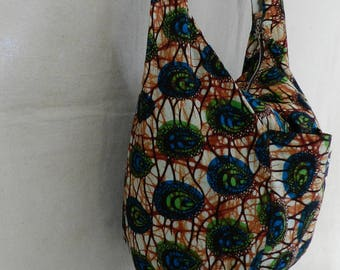 Shoulder bag backpack in wax fabric African green and blue with closing zipper and 3 pockets