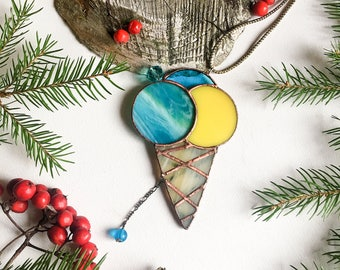 Stained glass suncatcher ~  Light blue ice cream  ~ Original design ~  Tiffany technique ~ Stunning home decor ~ Art Glass ~ Handmade