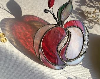 Stained glass suncatcher ~  Apple  ~ Tiffany technique ~ Original design ~ Stunning home decor ~ Art Glass ~ Handmade