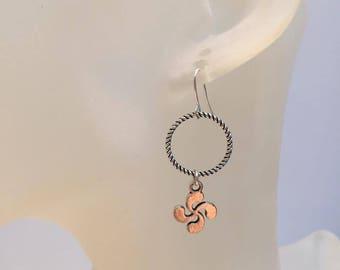 Ring silver basque cross earrings