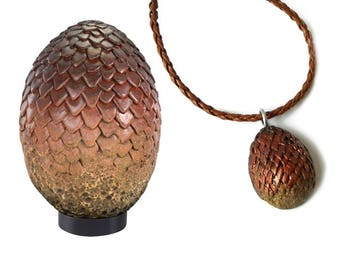 Necklace jewelry: daenerys - dragon pendant on Brown braided cord-red egg.