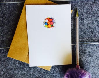 Rainbow candy spots greeting card handmade and finished with stitched illustrations birthday celebrations, notecard blank can  personalise