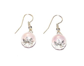 Earrings - Pink mother of pearl beads
