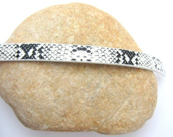 20 cm Strip leather, snakeskin black and white 10mm