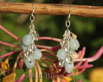 Aquamarine - quartz and 925 Sterling Silver earrings