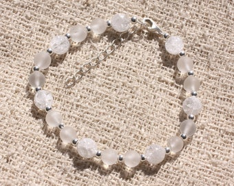 Bracelet 925 sterling silver and stone - rock crystal Quartz matte and Crackle 6-7mm