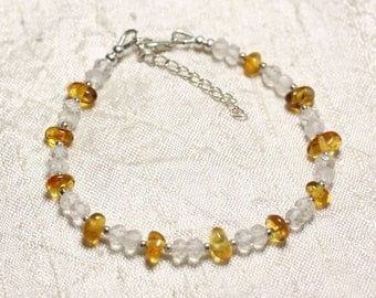 Crystal Quartz and amber natural 5-6mm 925 silver bracelet