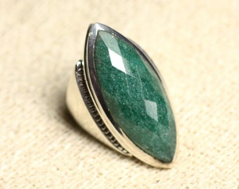 N348 - Ring Silver 925 Aventurine faceted Marquise 34x14mm