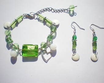 bracelet and earrings - green beads - white sequins