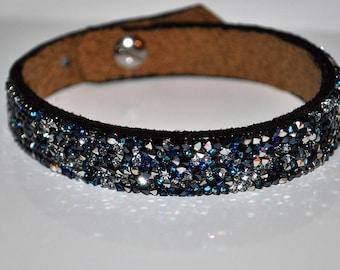 Grey black white blue rock Swarovski leather bracelet
