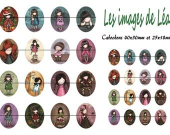 #PetitesFilles2: Board of digital images for cabochons