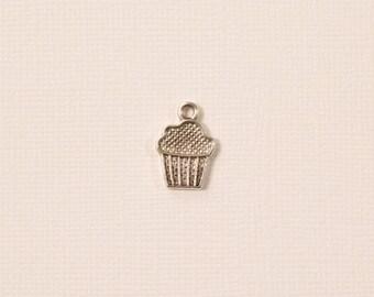 Silver tone Tibetan silver cupcake charm