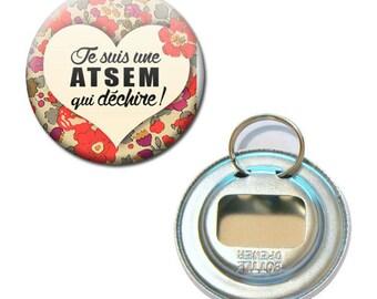 Bottle opener Keychain Badge 56 mm - I'm a school that rocks kindergarten flower child gift