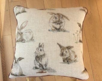 Rabbit print 17 inch square scatter cushion