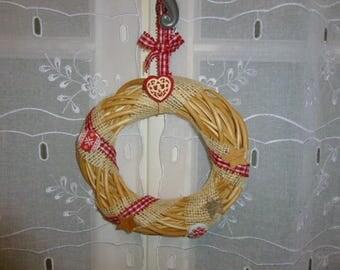 Red Wicker wreath holiday decoration-ecru