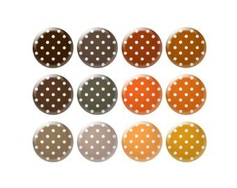 Digital bottle cap images - Brown and orange polka dot images - 20 mm to 30 mm circles - Bottle cap jewelry patterns - Digital images