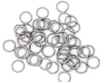 150 anneaux de jonction argenté 7 mm x 0,7 mm