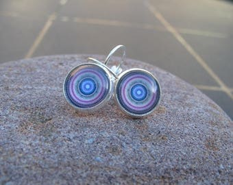 Pink, blue, Purple Rose cabochon earrings