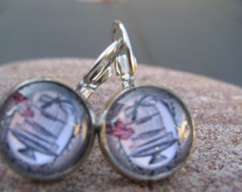 Bird cage and cabochons earrings