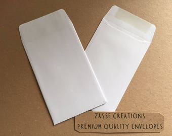 Small White Dinner Money/Wage/Coin/Seed/Wedding/Charity Envelopes 90gsm - 100mm x 62mm Quantities 50-1000
