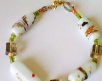 floral glass - autumn colors bracelet