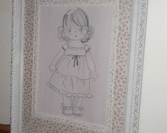 Kids frame / frame for girl / pink liberty fabric featuring white weathered wood large frame