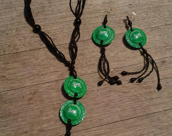 Sprite bottle cap earrings and necklace