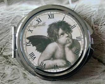 Round Pocket mirror silver clock Raffaello Sistine Madonna of the painter Raphael painting renaissance Angel