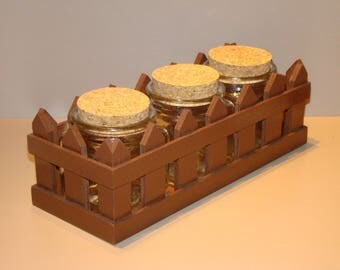 Wooden stand chocolate-brown color with 3 jars for candy, spices...