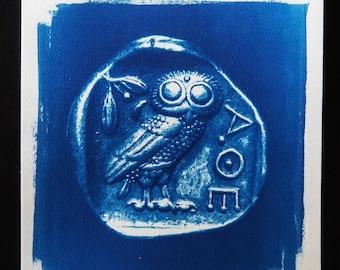 Athenian owl, antic greek tetradrachm, cyanotype