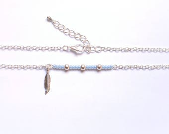 Blue glass beads and feather IGAI silver necklace