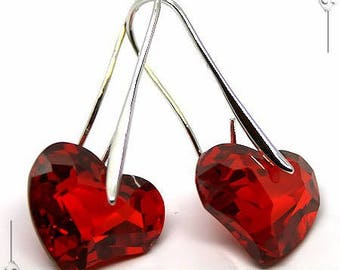 Valentine heart red Rhodium earrings