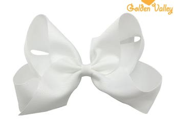 Quality 6 inch Grosgrain Ribbon Large Hair Bows With Clip For Baby Girls Toddler