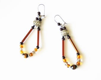 Earrings with Tibetan silver, Tiger eye bead and glass beads