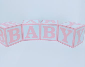 Pink BABY Blocks for Baby Shower Decoration - Table Centrepiece - Nursery Room Decor