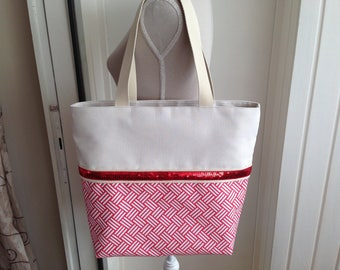 Tote bag in beige suede and glitter Red