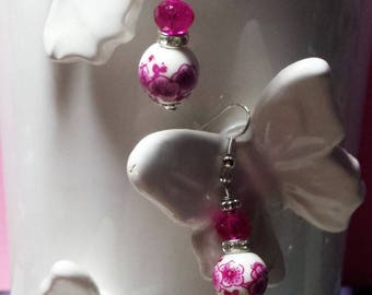 Porcelain and fuchsia Swarovski crystal earrings