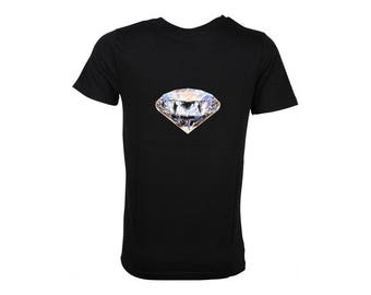 Men's black cotton T-shirt, diamond