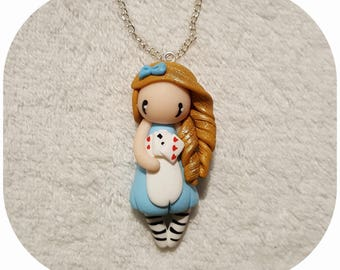 "Necklace little girl ""golden hair, dress sky blue, card game"" (Alice collection)"